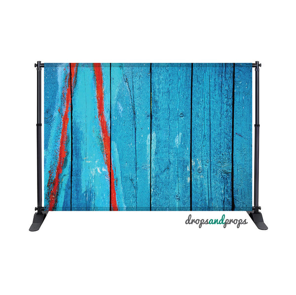 Blue & Red Wood Photography Backdrop