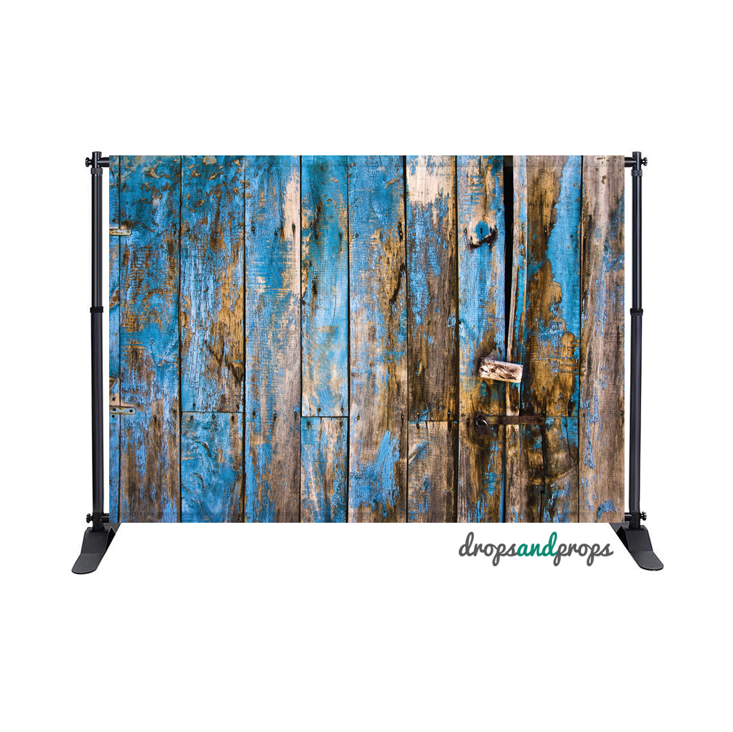 Blue Distressed Wood Photography Backdrop