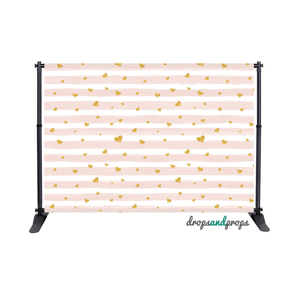 Blush Watercolor Stripes & Gold Hearts Photography Backdrop
