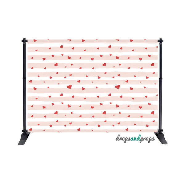 Blush Watercolor Stripes & Red Hearts Photography Backdrop