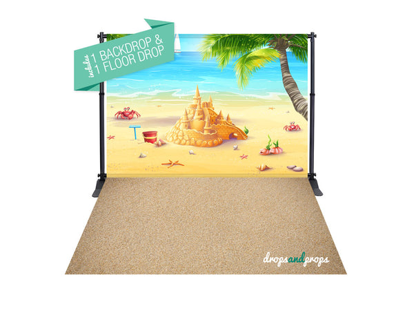 Castles in the Sand & Sand Photography Backdrop Combo