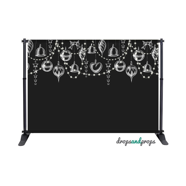 Chalkboard Christmas Ornaments Photography Backdrop