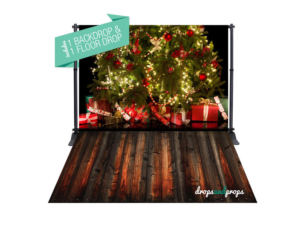 Christmas Tree & Rich Dark Wood Photography Backdrop Combo