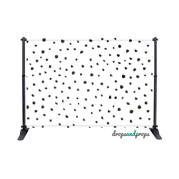 Black Watercolor Polka Dots – Photography Backdrop