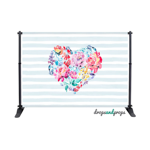 Floral Heart Photography Backdrop