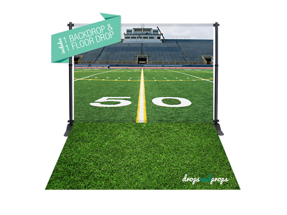 Football Field & Grass Photography Backdrop Combo