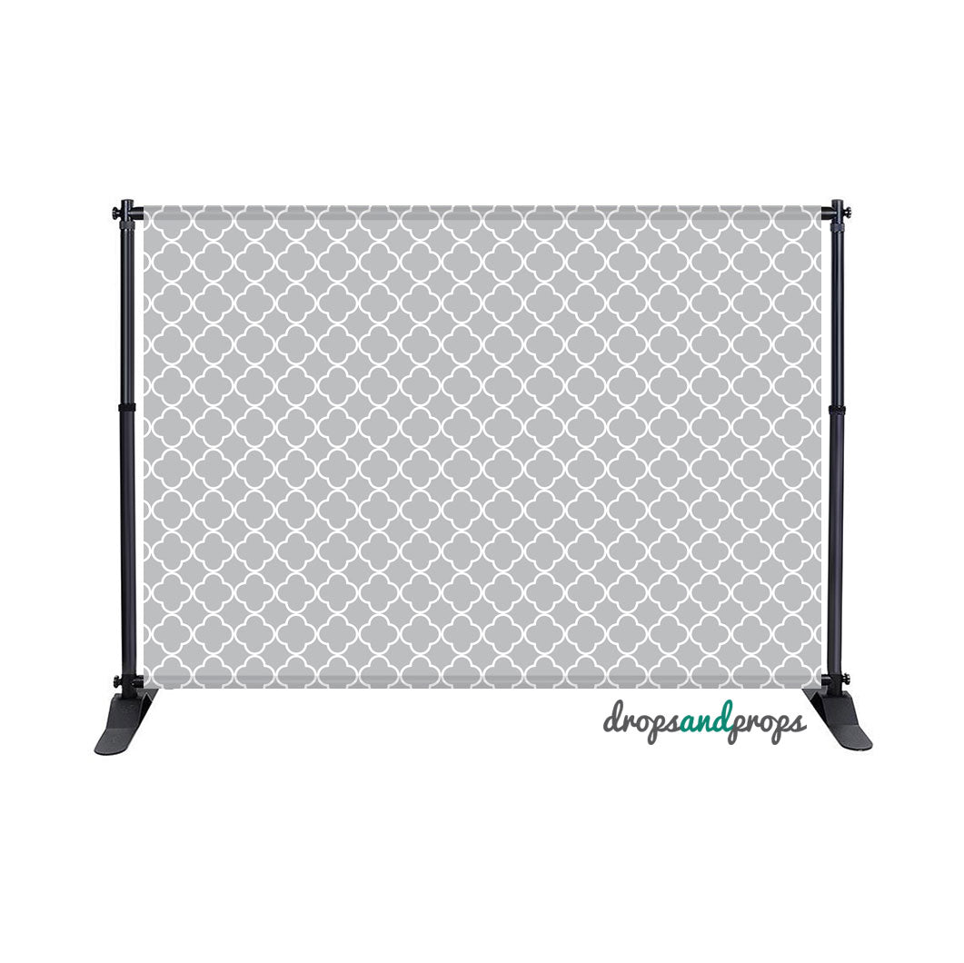 Gray Quatrefoil Photography Backdrop