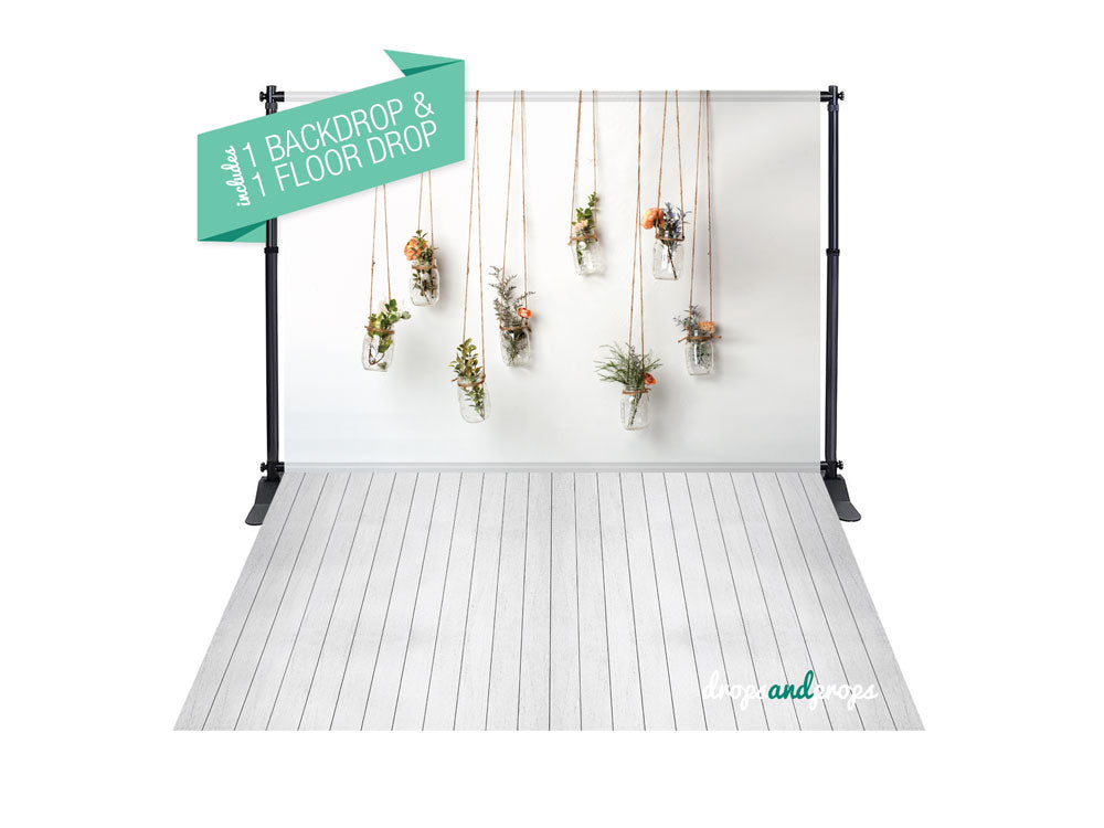 Hanging Flowers & White Wainscot Photography Backdrop Combo