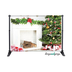 Holiday Fireplace Photography Backdrop