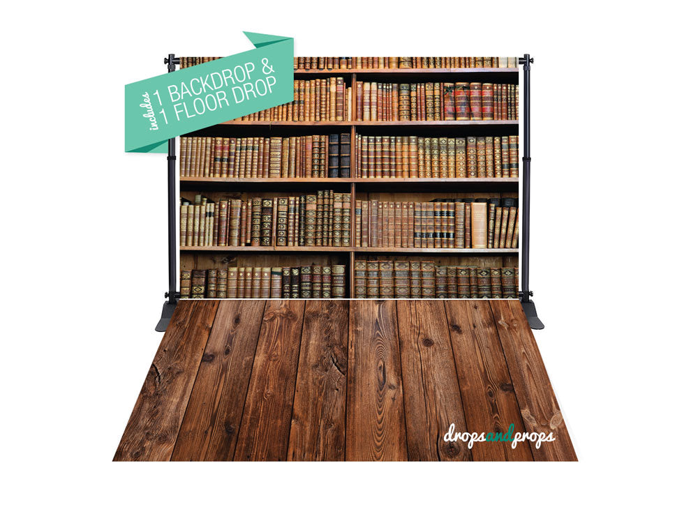 Library Books & Dark Wood Photography Backdrop Combo