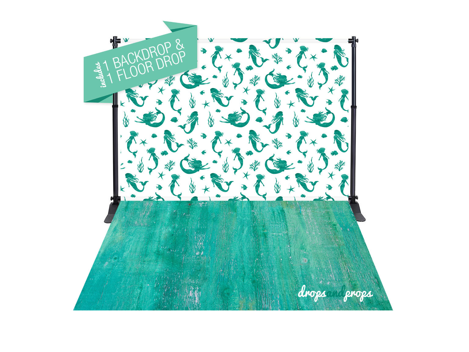 Mermaids & Emerald Wood Texture Photography Backdrop Combo
