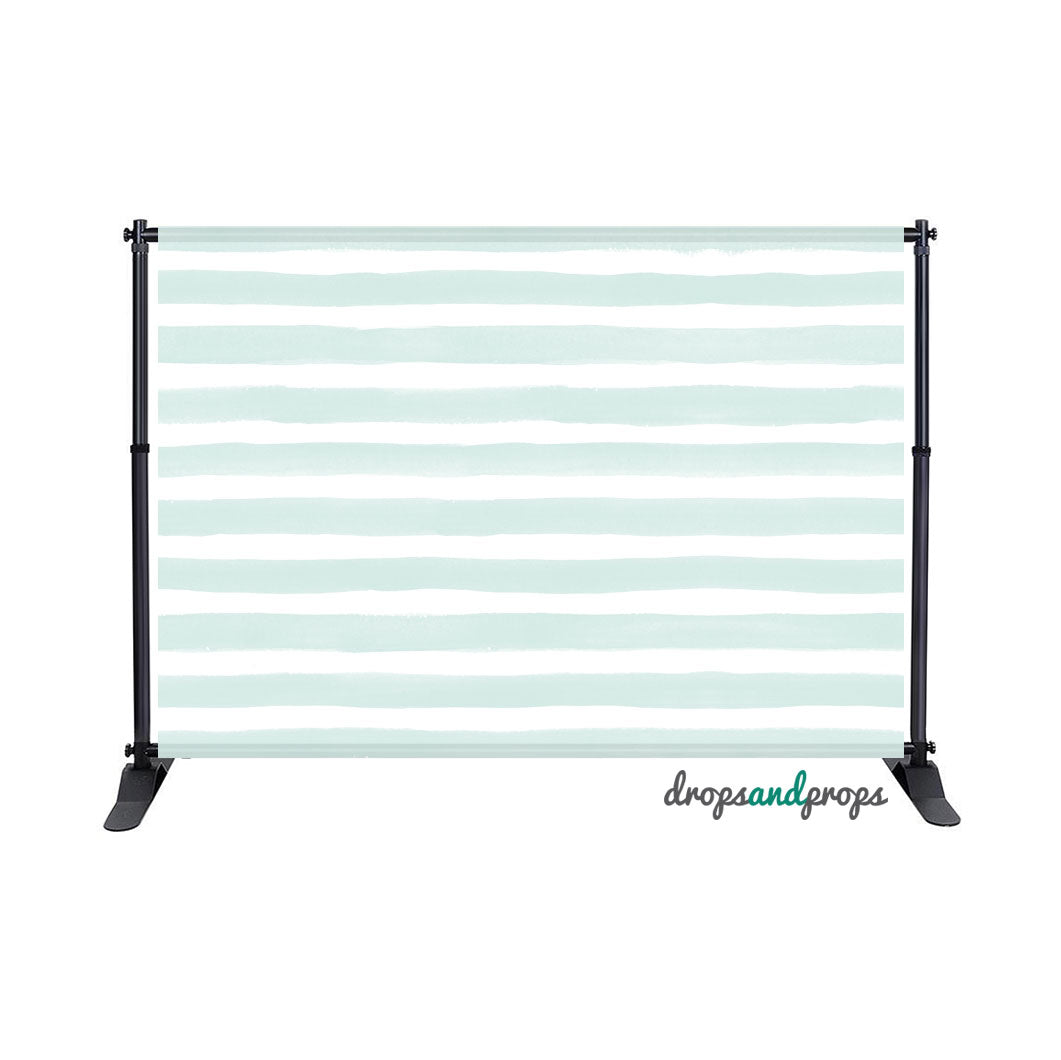 Mint Watercolor Stripes Photography Backdrop
