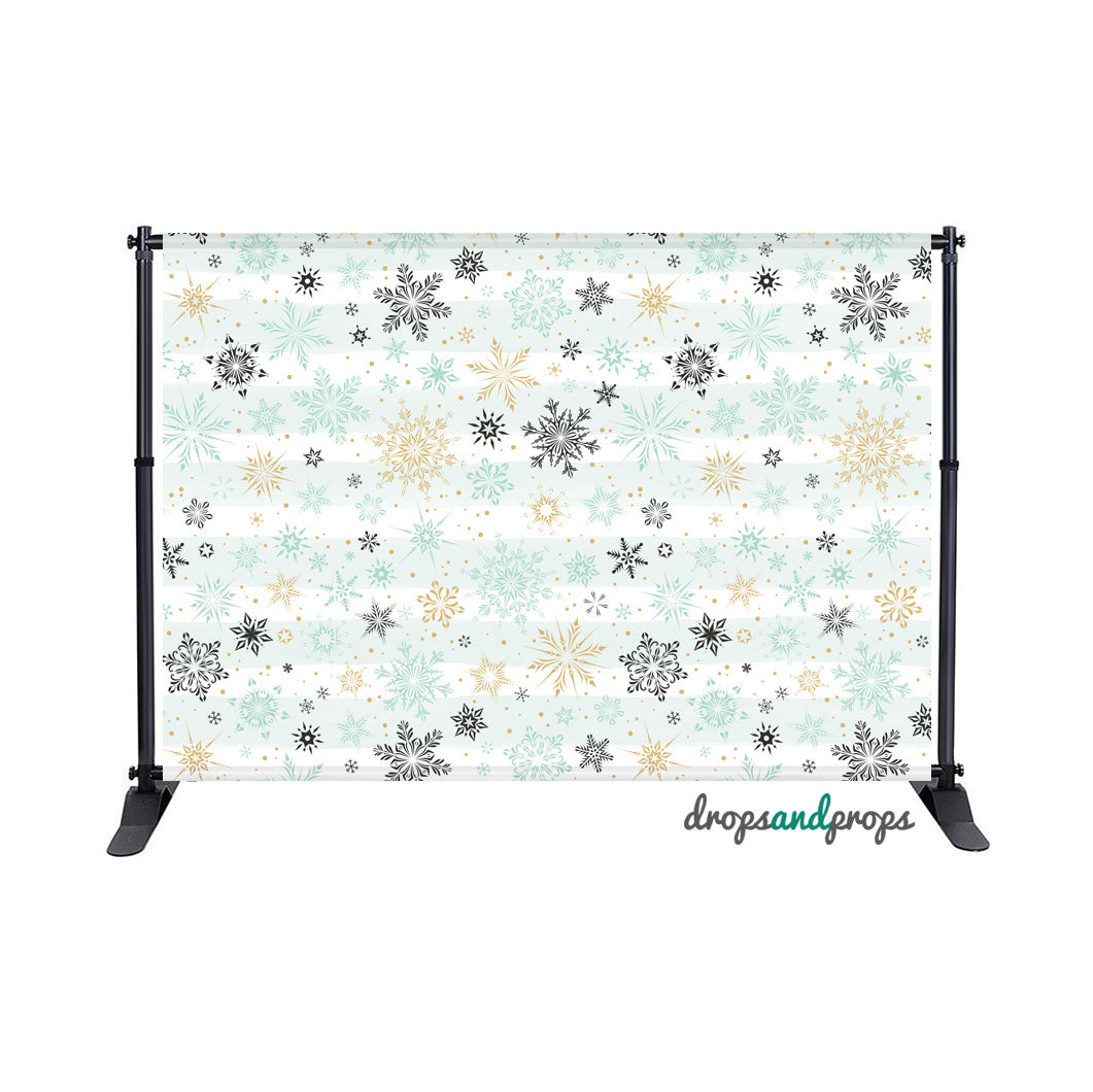 Mint & Gold Snowflakes Photography Backdrop