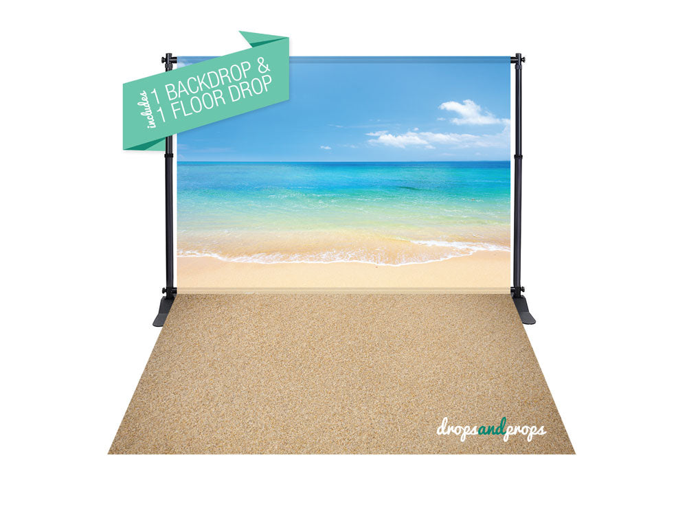 Perfect Summer Day & Sand Photography Backdrop Combo