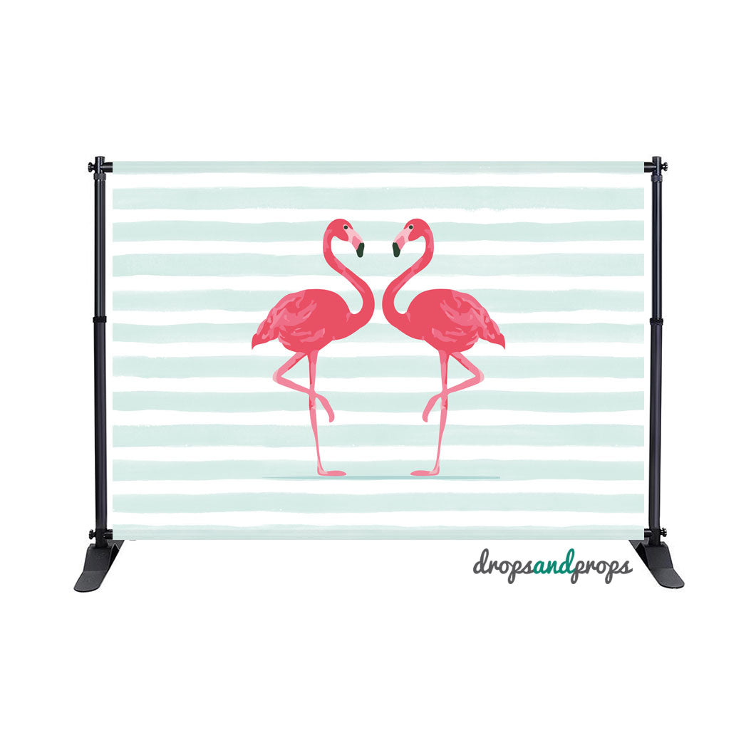 Pink Flamingos & Mint Watercolor Stripes Photography Backdrop