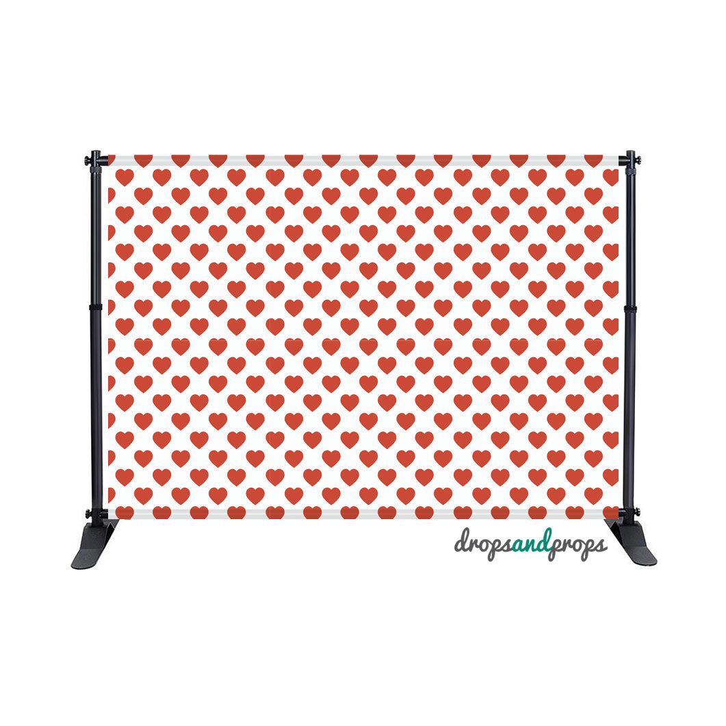 Red Hearts Photography Backdrop