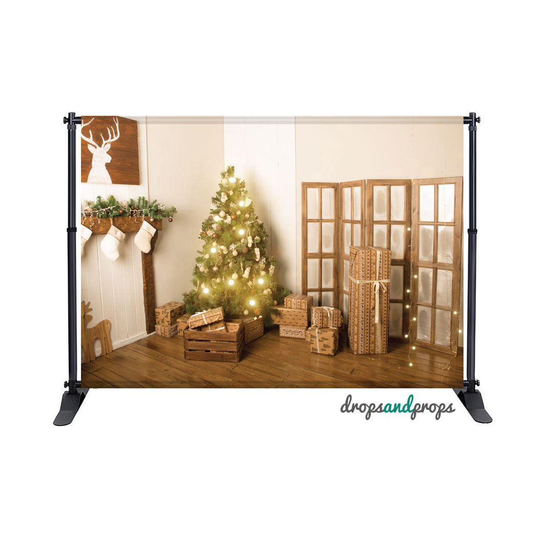 Rustic Christmas Tree Photography Backdrop