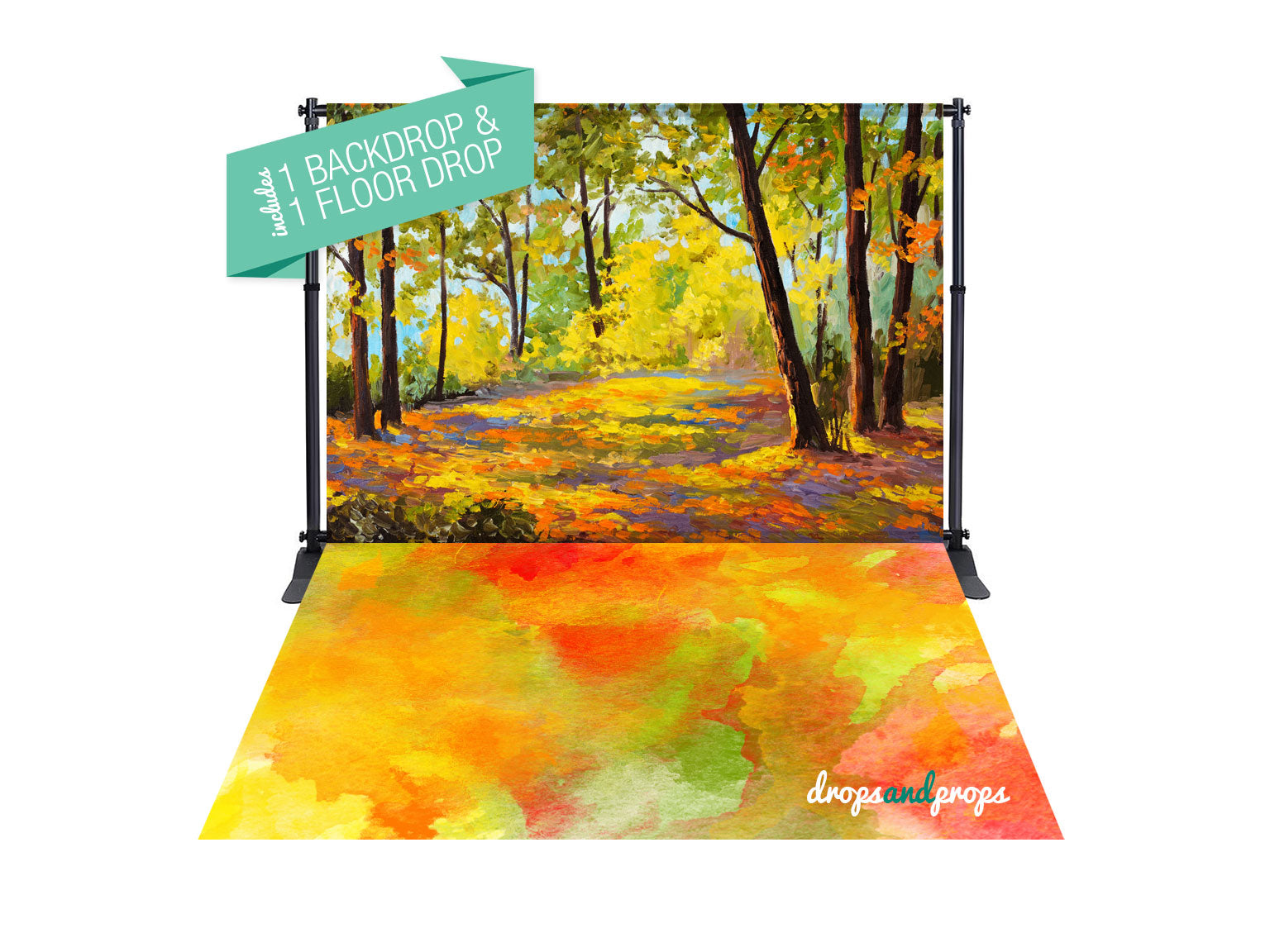 September Forest & Color Me October Photography Backdrop Combo