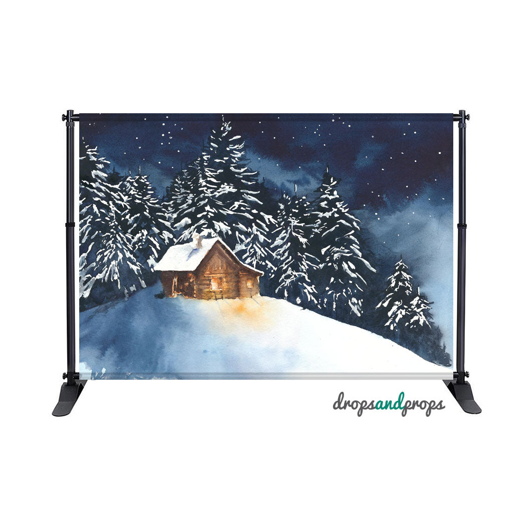 Snowy Winter Cabin Photography Backdrop