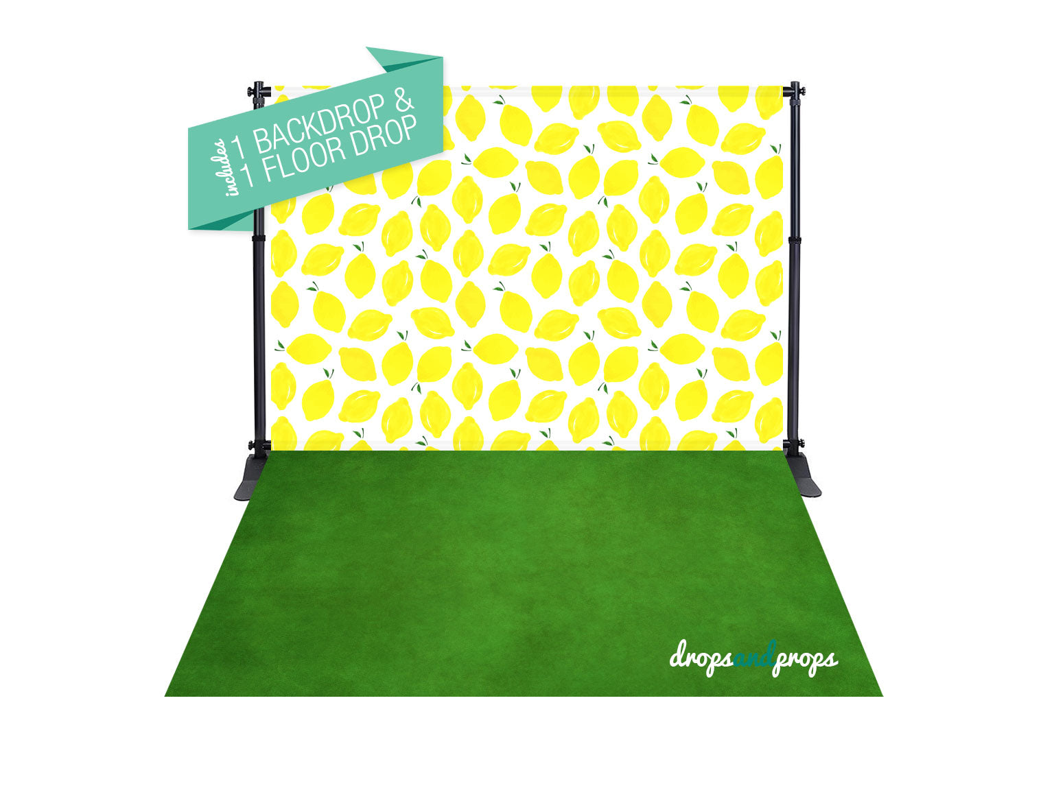 Summer Lemons & Grass Green Texture Photography Backdrop Combo