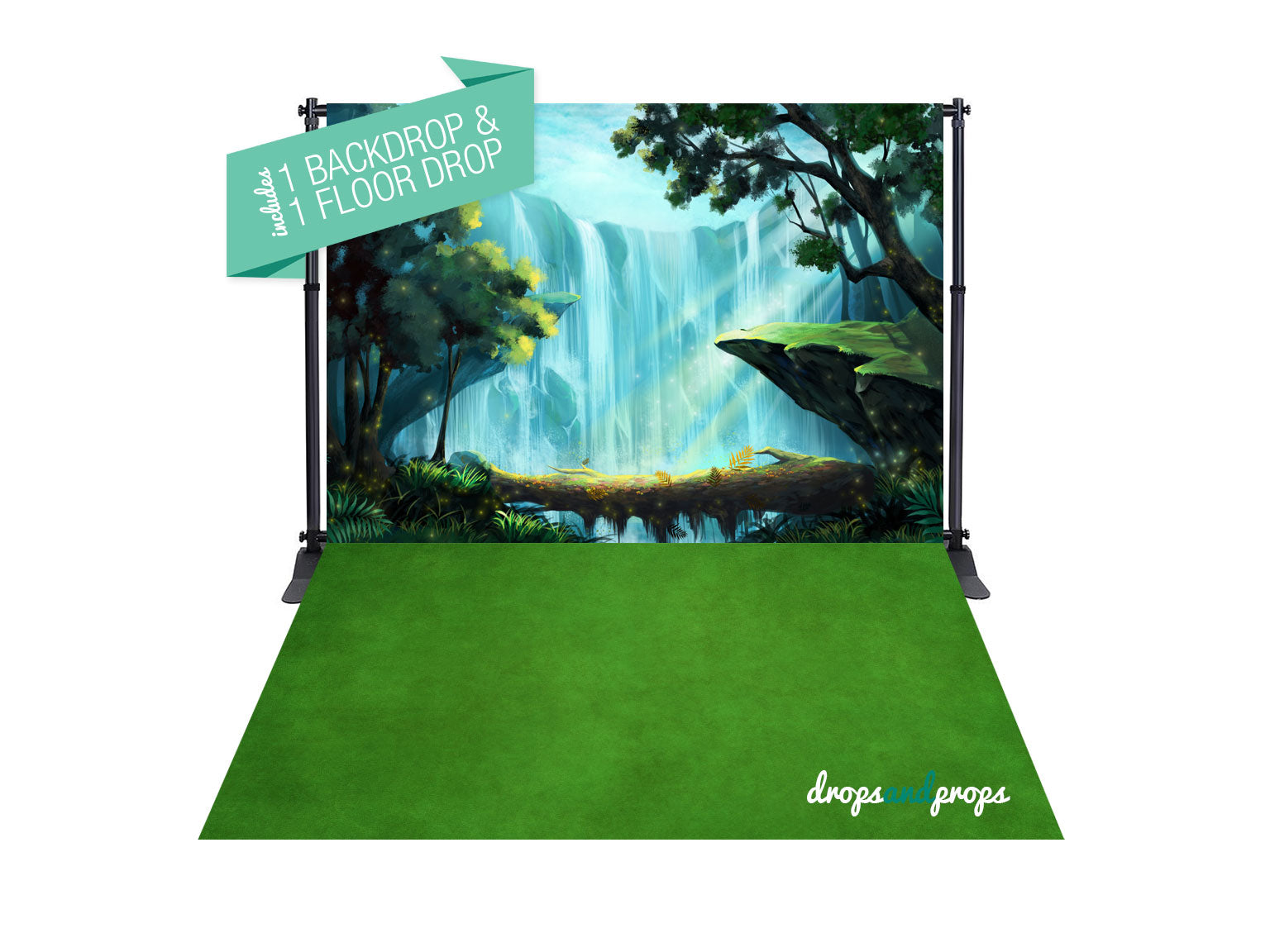 Tropical Waterfall & Grass Green Texture Photography Backdrop Combo