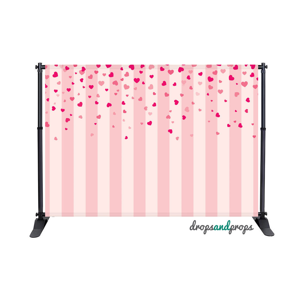 Vertical Pink Stripes with Hearts Photography Backdrop