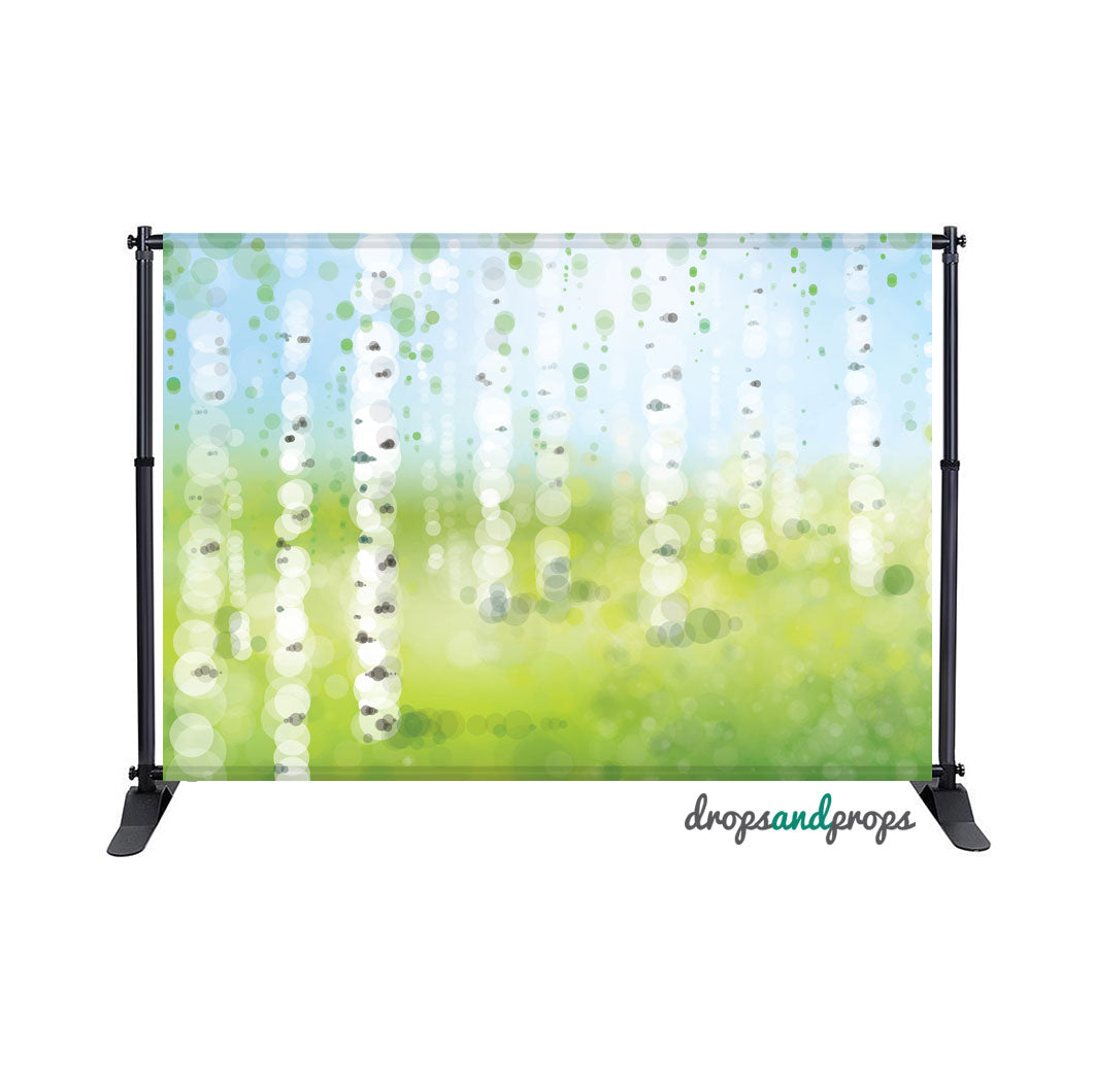 Bokeh Birch Forest Photography Backdrop