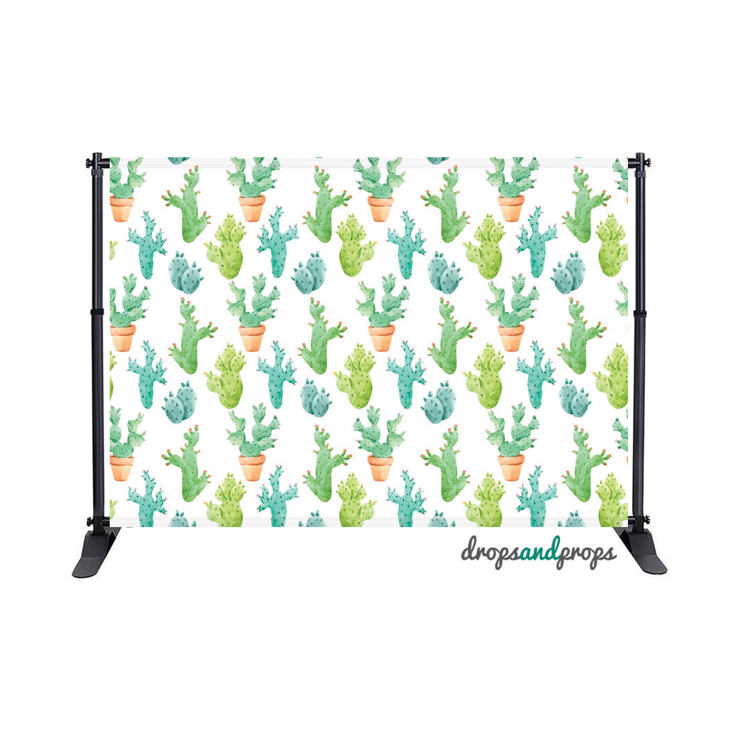 Watercolor Cactus Photography Backdrop