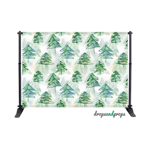 Watercolor Fir Trees Photography Backdrop