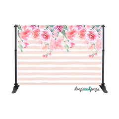 Watercolor Floral & Stripes Photography Backdrop