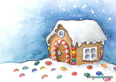 Watercolor Gingerbread House Photography Backdrop