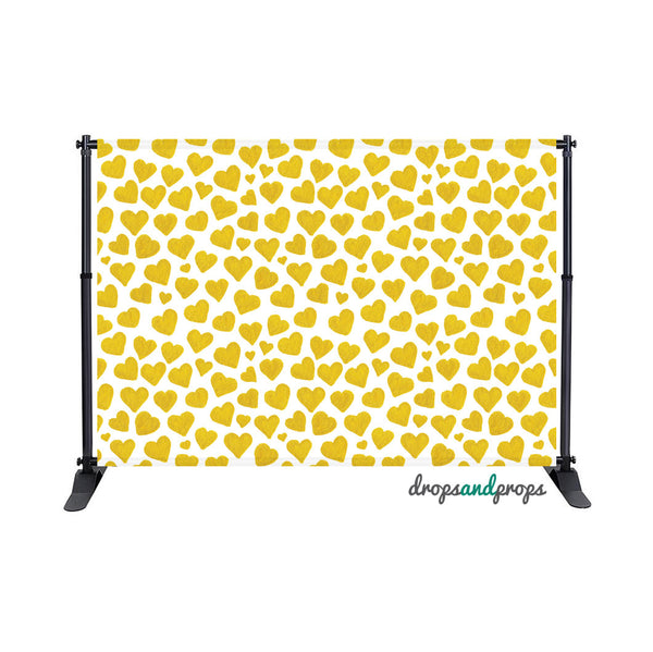 Watercolor Gold Hearts Photography Backdrop