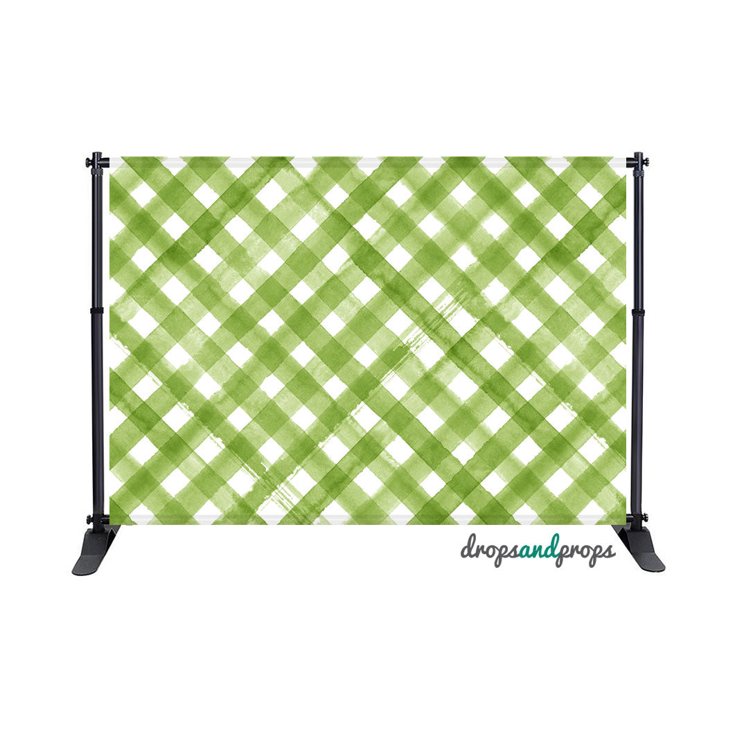 Watercolor Green Criss Cross Photography Backdrop