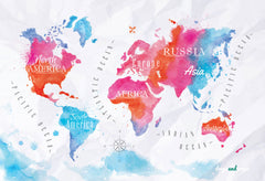 Watercolor Map Photography Backdrop