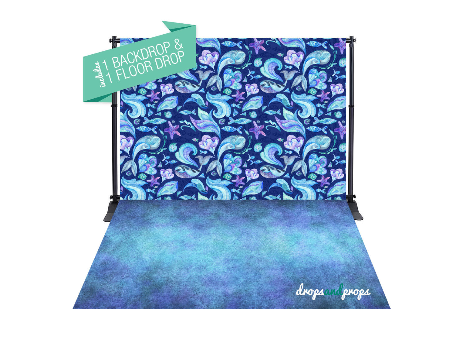 Watercolor Mermaid Pattern & Teal Texture Photography Backdrop Combo