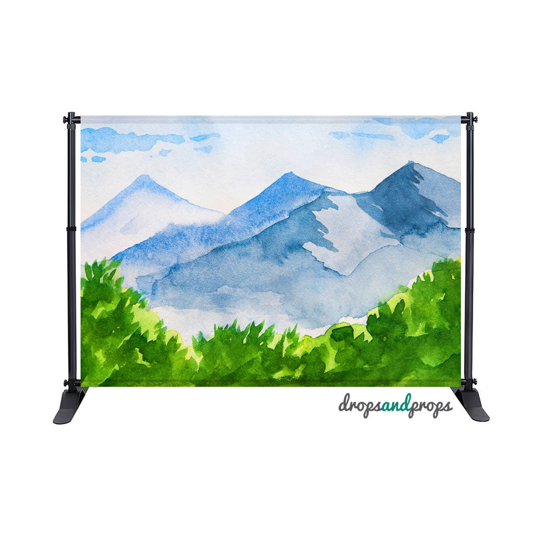 Watercolor Mountains Photography Backdrop