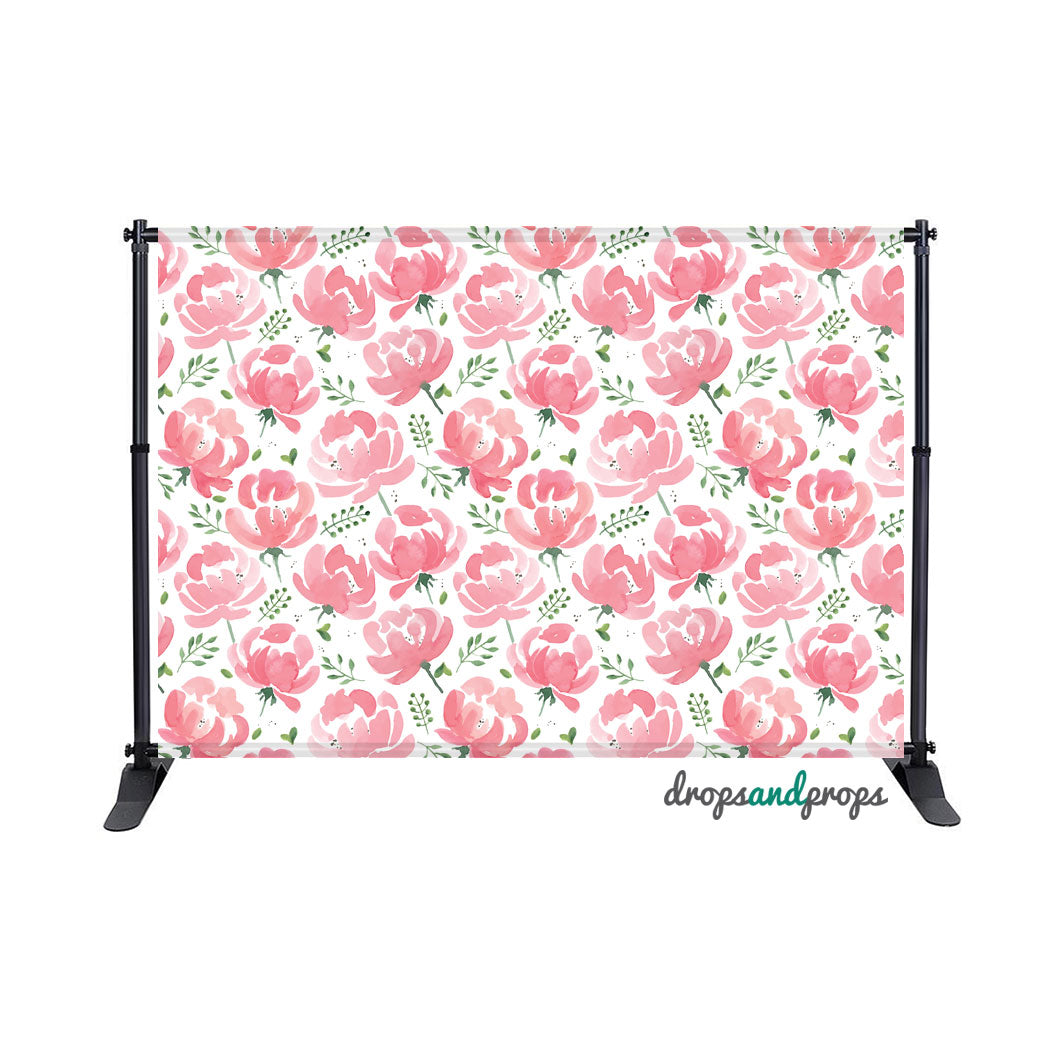 Watercolor Peonies Photography Backdrop