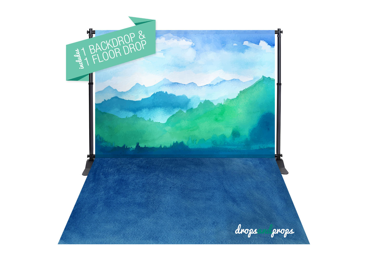 Watercolor Wilderness & Watercolor Navy Photography Backdrop Combo