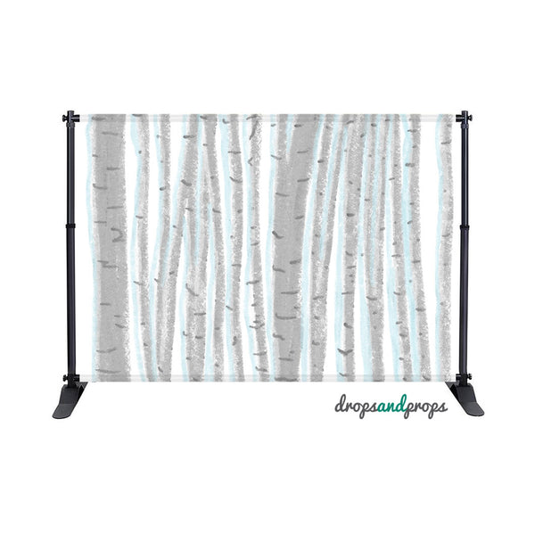 Watercolor Winter Birch Photography Backdrop