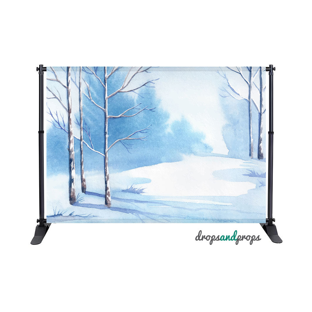 Watercolor Winter Trees Photography Backdrop