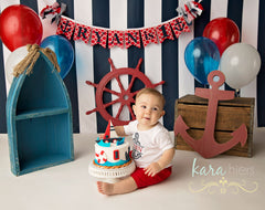Navy Vertical Stripes Photography Backdrop
