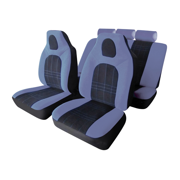 D-Zine Black Grey Velour Fabric Front Built In Headrest Airbag Friendly Car Seat Covers Set