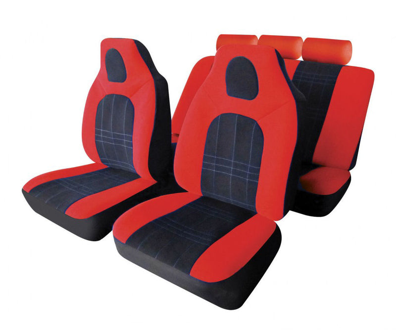 D-Zine Black Red Velour Fabric Front Built In Headrest Airbag Friendly Car Seat Covers Set