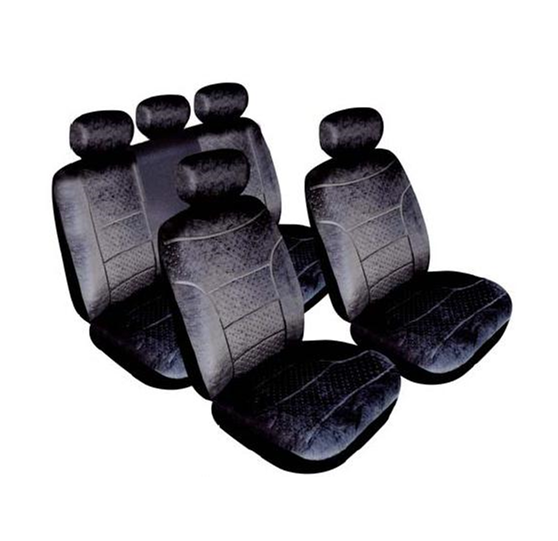 Domino Black Plush Velour Fabric Look Airbag Friendly Car Seat Covers Full Set