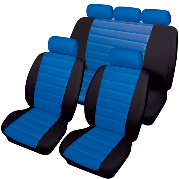 Carrera Blue Black Soft Supple Quilted Leather Look Airbag Friendly Car Seat Covers Full Set