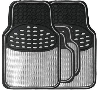 Revelation Silver Chrome Metallic Look Effect Heavy Duty Car Black Rubber Mats Set Of 4