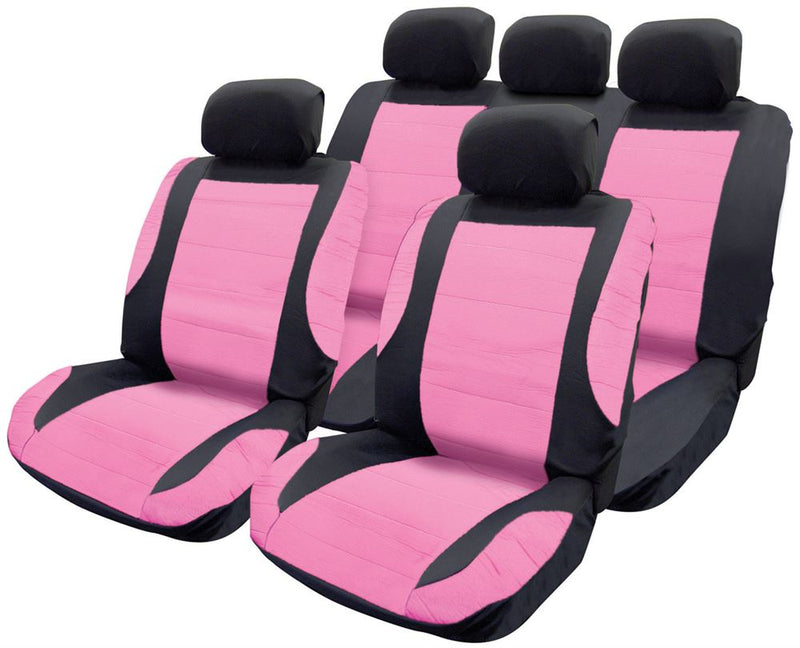 Pink Black Leather Look Car Seat Covers Steering Wheel Cover Harness Pads Set