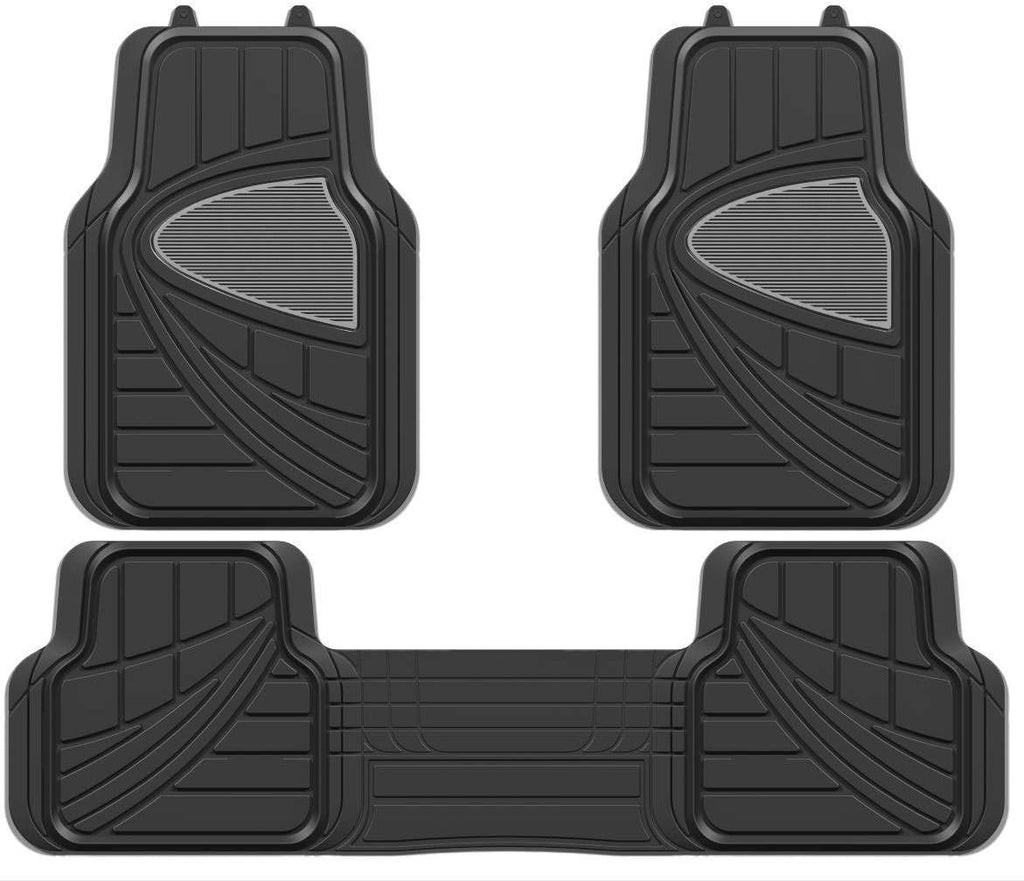 Black Grey Deluxe Heavy Duty Rubber Car Taxi Front Mats With 1 Full Cross Rear Mats Set