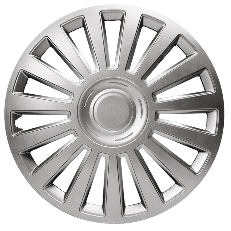 "13"" Silver Luxury Multi Spoke Car Wheel Trims Hub Caps Covers Set+Dust Caps+Ties"