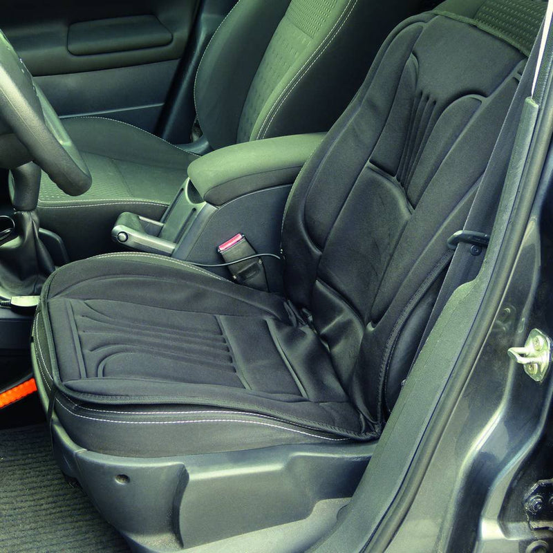 CP 12v In Car Van Plug Black Front Single Seat Cover Thermal Heated Support Cushion